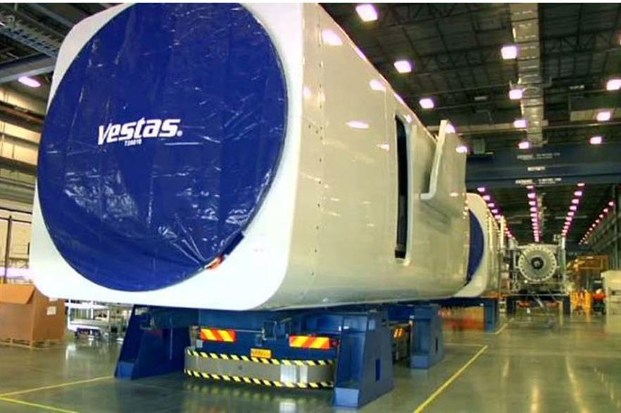 A nacelle at Vestas' Brighton, Colorado factory