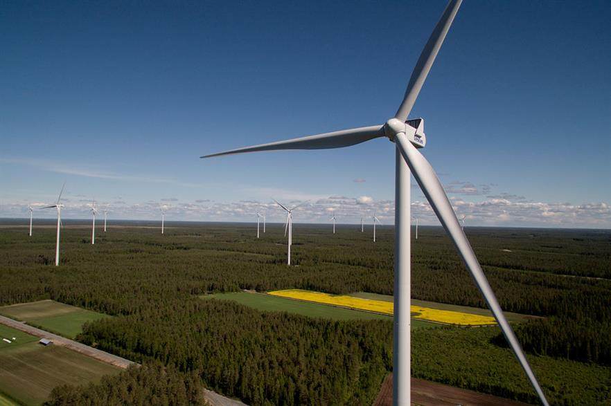 A Vestas V126-3.3MW turbine on a large diameter steel tower in Finland