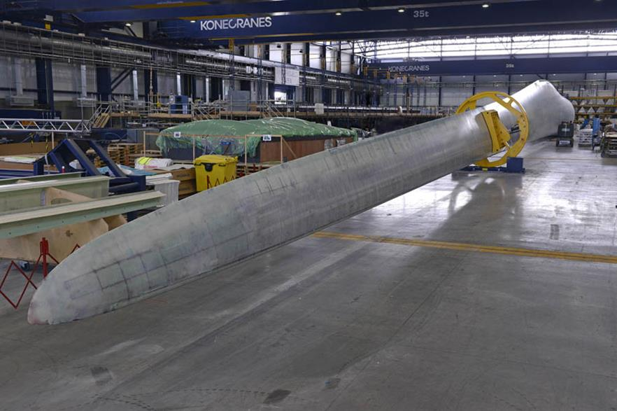Prototype blade of potentially the world's most powerful offshore wind turbine – Vestas' V164-8MW
