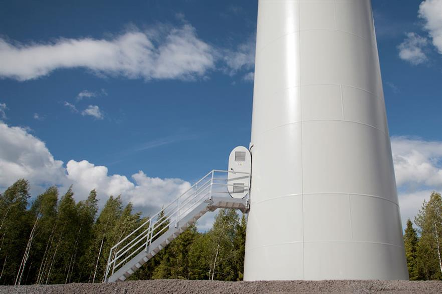 The group aims to install batteries inside Vestas towers (above) within three years
