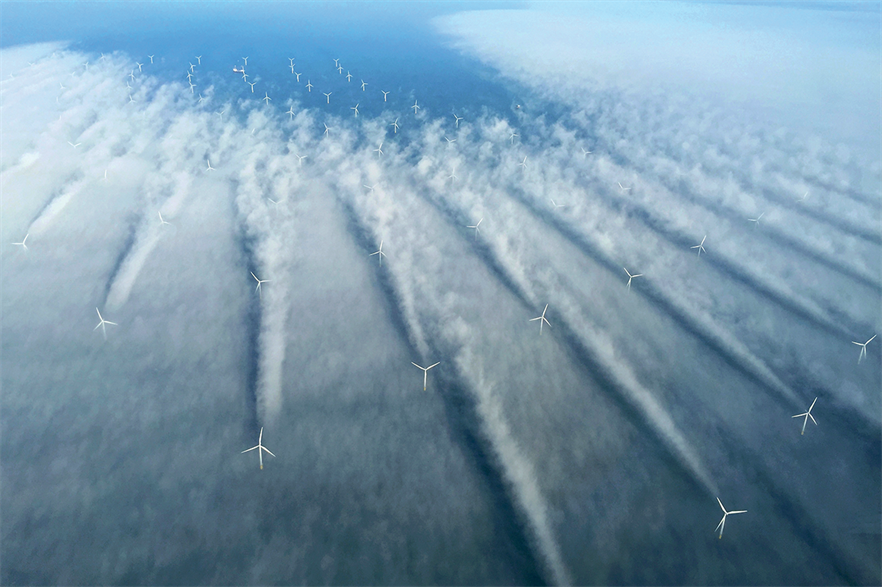 A number of turbines at Dong Energy's Horns Rev 2 offshore wind project give a real-life lesson into the effects of turbine wake (pic credit: Bel Air Aviation)