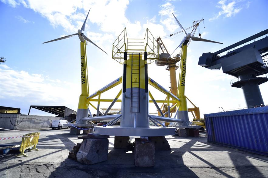 The double-turbine platform is able to rotate in to the wind, similar to a weather vane