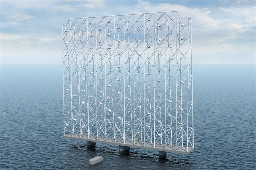 The Wind Catching concept will of one hundred and seventeen 1MW turbines in a grid structure 350 metres wide and 300 metres tall.