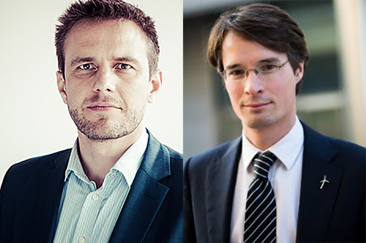 Kristian Ruby, left, has been replaced as WindEurope chief policy officer by Pierre Tardieu