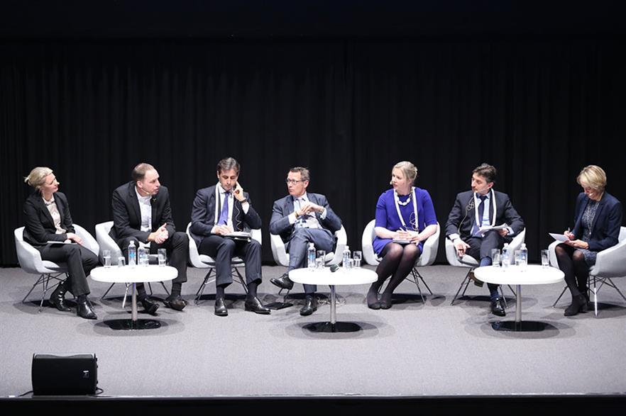 Talking money: Liv Lønnum, Alfred Hoffmann, Alessandro Izzo, Ed Northam, Mary Quaney, Stéphane Dubos and Christina Sørensen (from left)