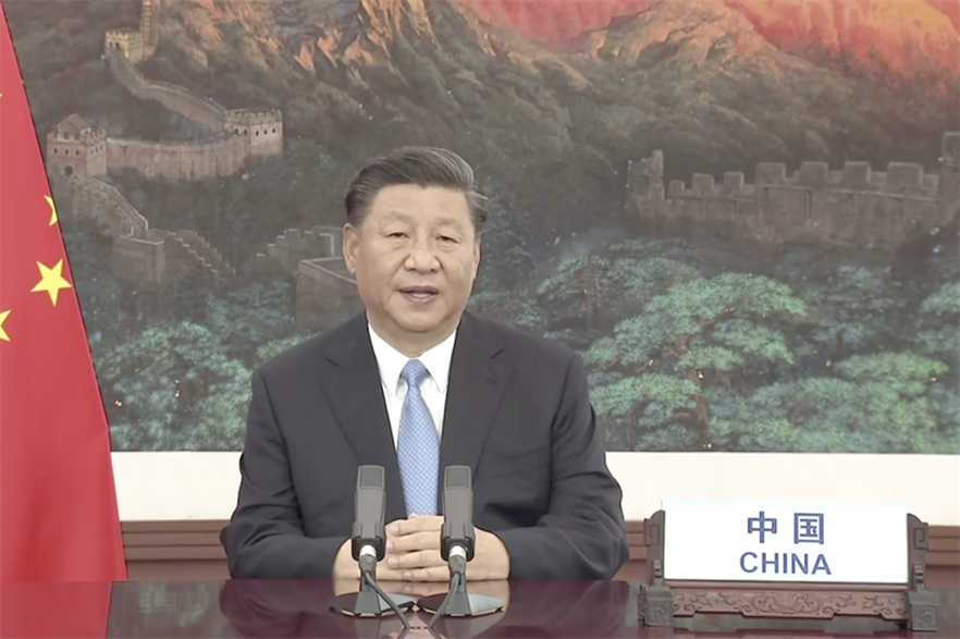 Chinese premier Xi Jinping addressing the UN General Assembly (pic credit: CGTN)