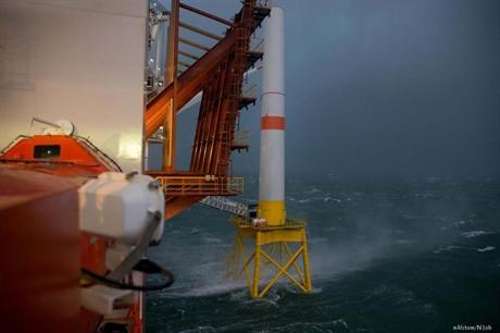 Weather conditions are currently preventing Alstom installing the blades and nacelle in the North Sea