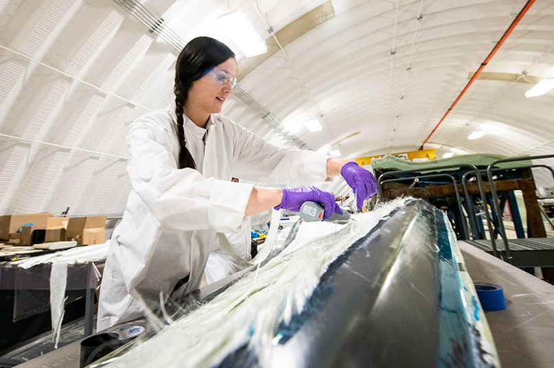 NREL researcher Robynne Murray works on a thermoplastic composite turbine blade (pic: Dennis Schroeder, NREL)