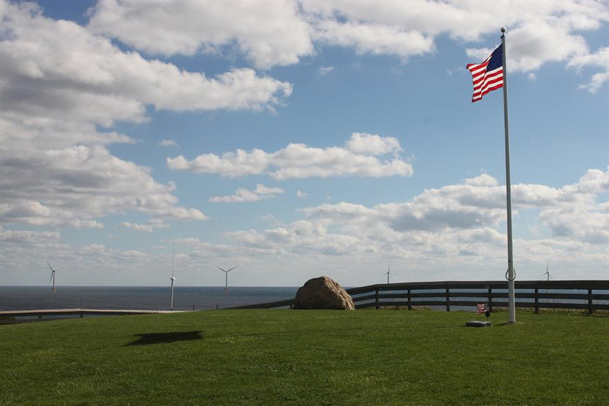 View from shore of Block Island, the US's first offshore wind wind project