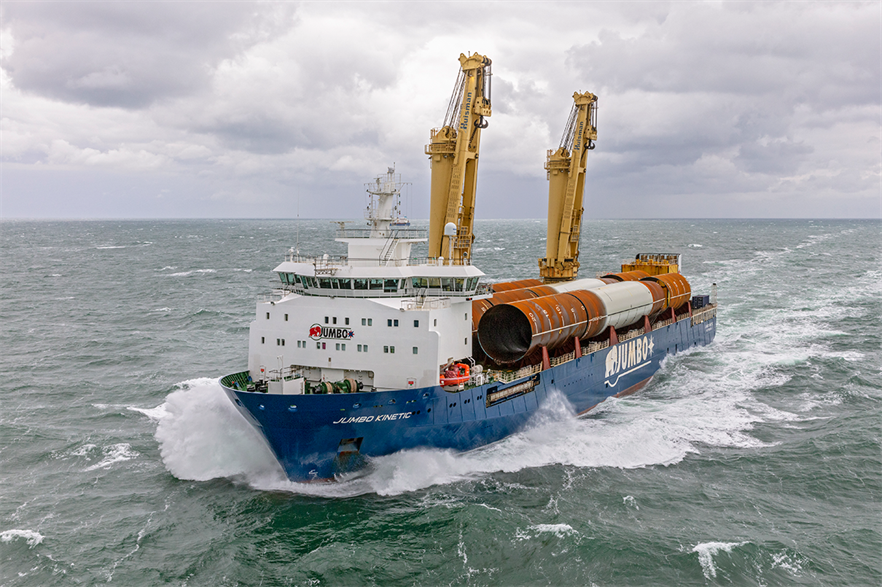 Monopiles being shipped to the Yunlin offshore wind farm (pic credit: Flying Focus)