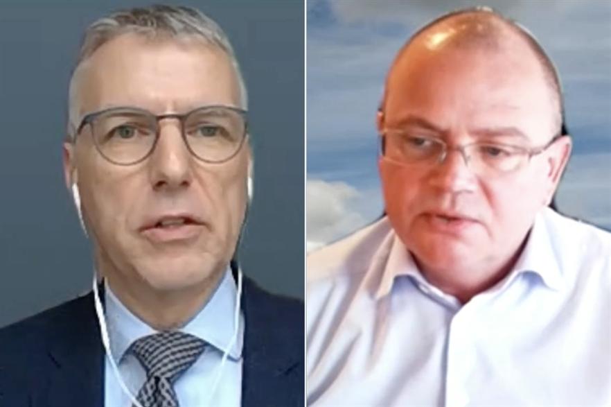 SGRE CEO Andreas Nauen (left) and Vestas chief Henrik Andersen (pic: WindTV)