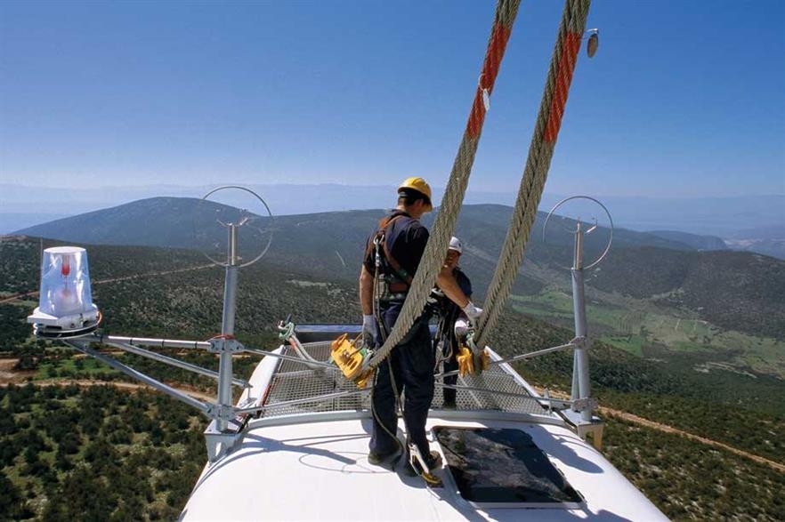 A Vestas V90 turbine being installed at Mount Didima, Greece