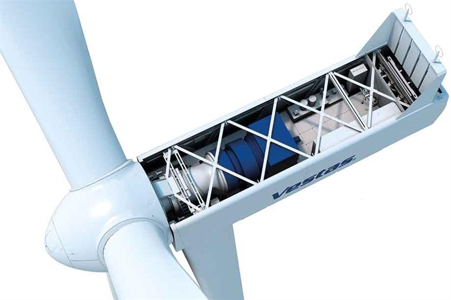New design… The EnVentus nacelle incorporates a compact medium-speed drivetrain. It is longer because the converter is located behind the generator