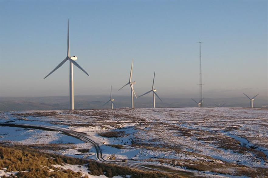 A meteorological tower monitoring wind speed at Scout Moor wind farm, Britain (copyright Paul Anderson)