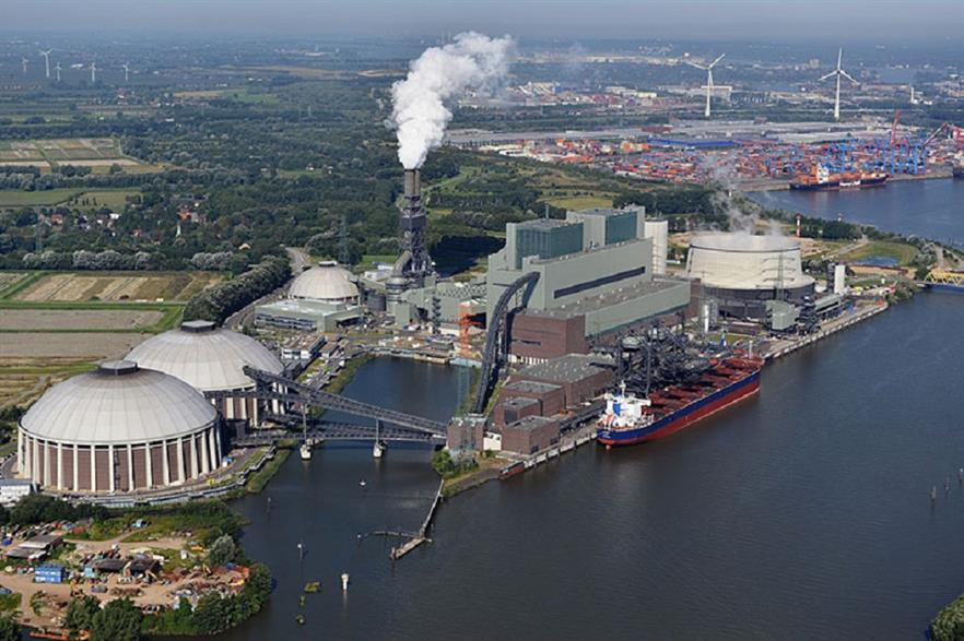 The Moorburg CHP Plant and the Hamburg Container Terminal Altenwerder in the background