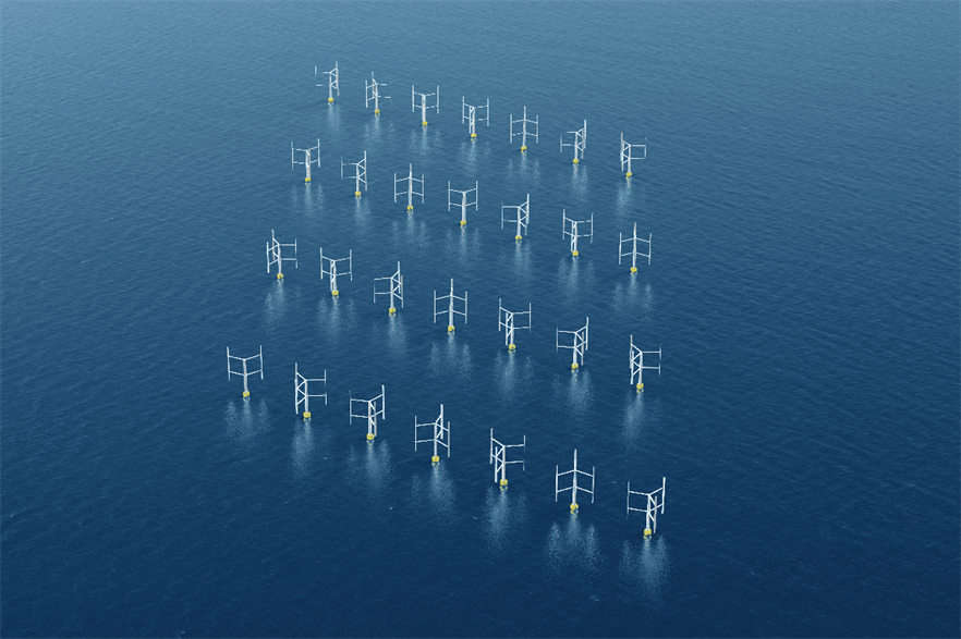 Computer graphic of a wind farm array with VAWTs, although the research was based on a single pair of turbines (pic: Oxford Brookes University)