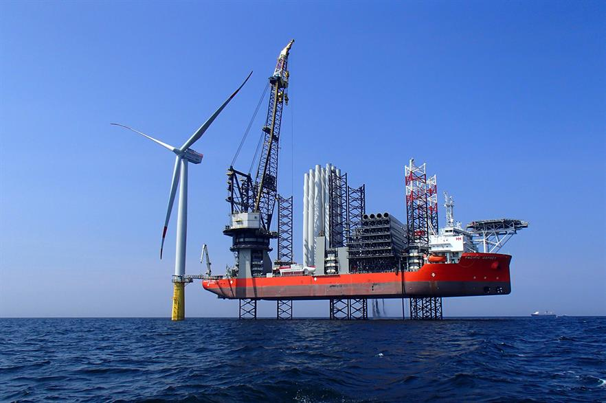 Swire Blue Ocean's Pacific Osprey vessel in operation at another, unrelated, offshore wind project