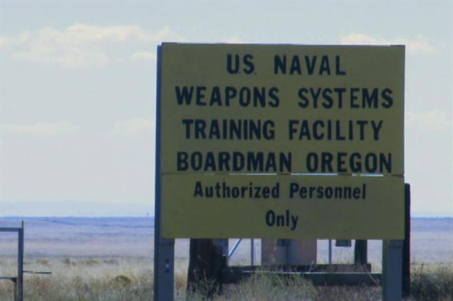 The wind farms are near an Oregon naval training facility