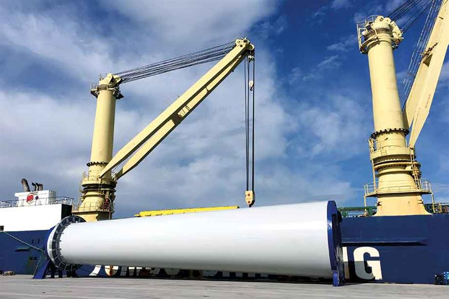Supply chain… Major parts such as towers were imported from Europe for Block Island, the first wind farm to be built in US waters (pic: Deepwater Wind)