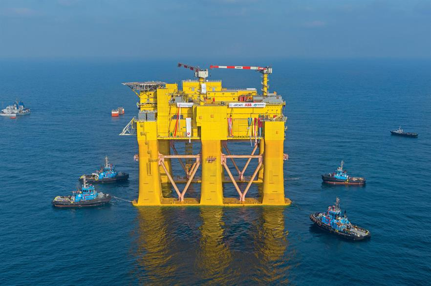 Five tugs helped ship the platform 24 miles offshore