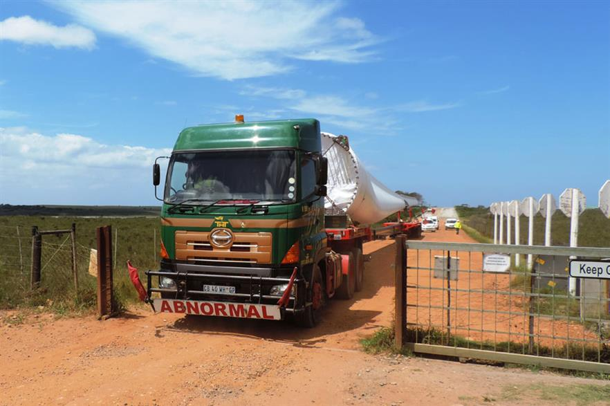 Headwind… With South Africa set to take over as regional wind leader, the final turbine is taken to Jeffrey's Bay wind far