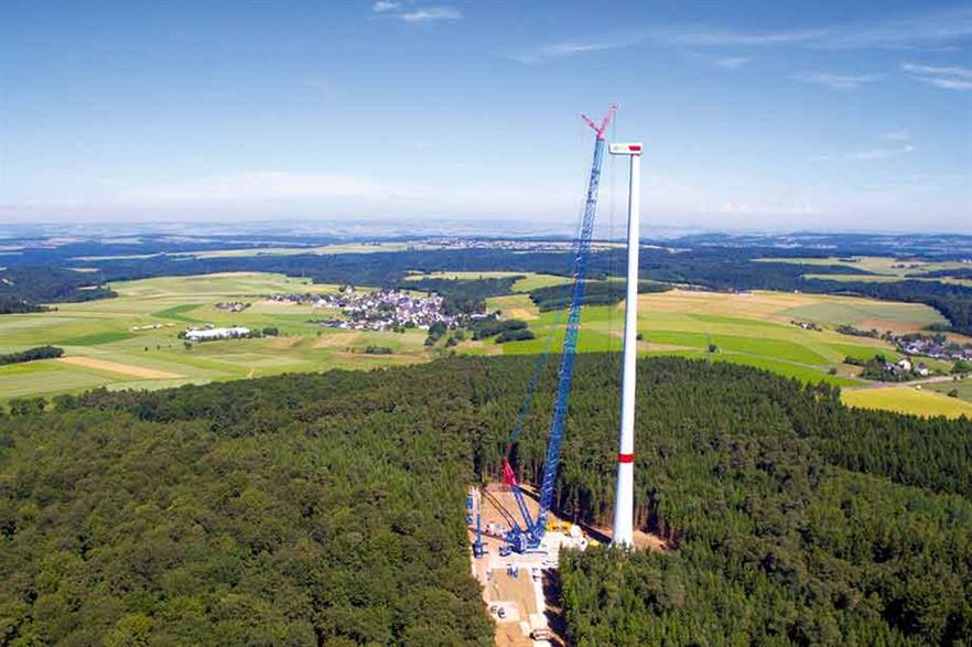 Top tip… Nordex N131/3300 on Max Bögl tower at 229.5 metres