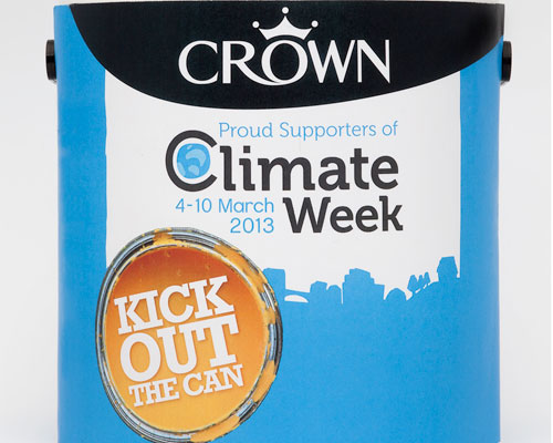 Crown paint's 'kick out the can' campaign is part of climate week. Credit: Crown Paints