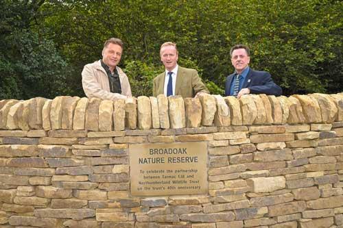 Chris Packham, Simon Phillips (Tarmac) ,Mike Pratt (Northumberland Wildlife Trust) (Image credit: 44 Communications)