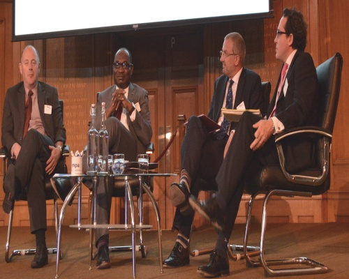 Business panel session (from left) Peter Andrew at Taylor Wimpey, Dr. Nelson Ogunshakin at National Infrastructure Plan Strategic Engagement Forum, Lawrence Slade at Energy UK, Simon Jack at Radio 4's Today