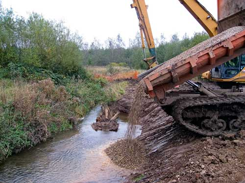 River Sence: Lafarge gravel is being used to transform the watercourse into a diverse habitat (Image credit: Lafarge)