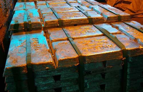 Zinc ingots: produced at Skorpion Mine, Namibia (Image credit: BGS/NERC)