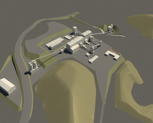 Computer-made aerial image of the mine facilities. Picture: SLR