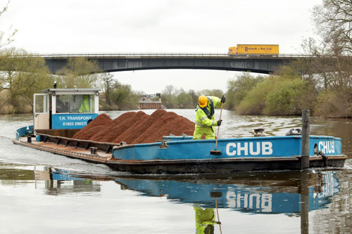 Barging: the River Severn has been used to transport aggregates from Ryall Quarry to Ripple since 2005 (Image credit: CEMEX)