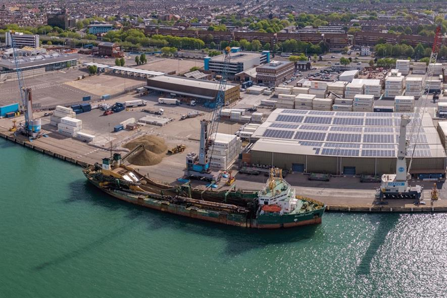 The delivery into the Port of Portsmouth is the first of a regular delivery of materials to serve local construction demand. Photograph: Brett
