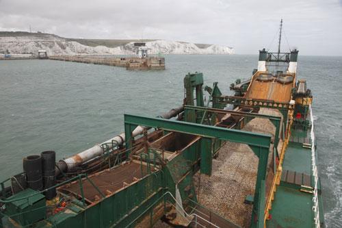 Marine aggregate sector generates £200 million per annum. Image BMAPA