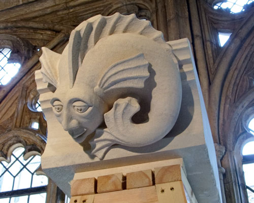 One of 12 new Syreford stone grotesques carved by students for St George's Chapel, Windsor. Credit: City & Guilds of London Art School