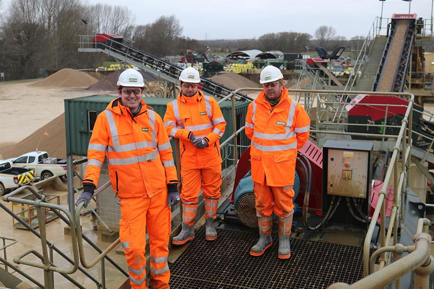 Gill Mill quarry manager Ben Strickland, left. with the as the supervisory team at the award-winning quarry in Oxfordshire. Photograph: Keith Whitlock