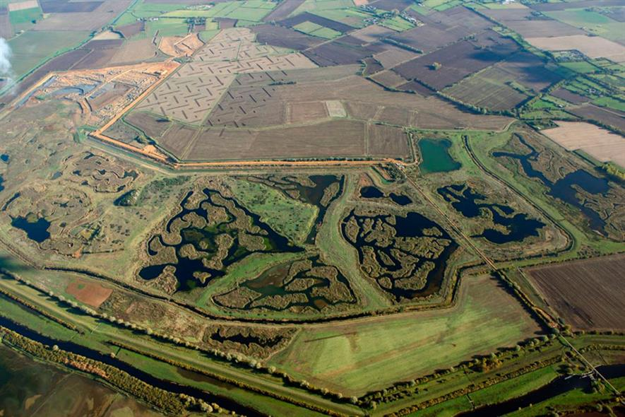 RSPB's Ouse Fen nature reserve in Cambridgeshire now extended to 298 hectares. Photograph: Hanson
