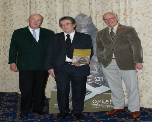 (L to r) Ecton Mines book celebration: Duke of Devonshire, Archaeologist John Barnatt and Sir Neil Cossons. Picture English Heritage
