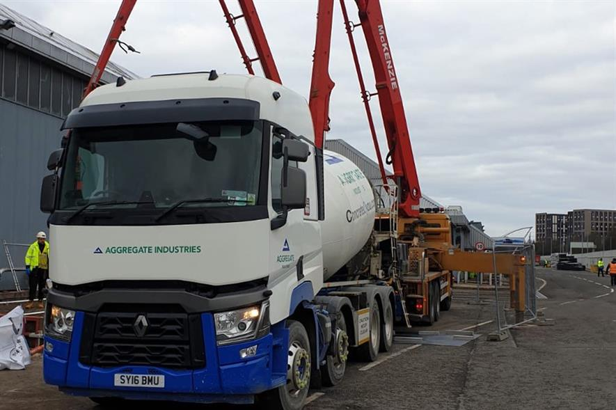 Aggregate Industries has supplied concrete for an emergency field hospital being built in Glasgow