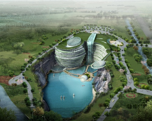 The hotel will overlook a 100m quarry waterfall. Picture: Atkins