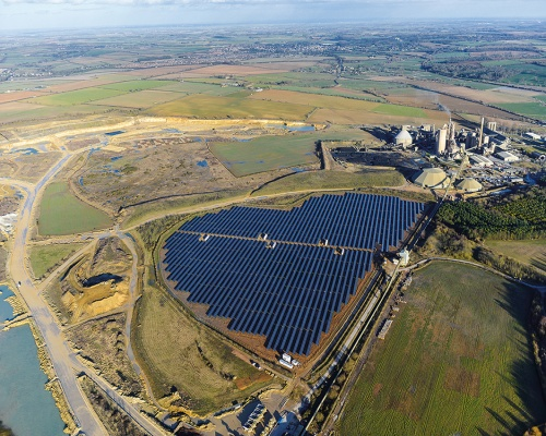 The solar farm at Ketton cement works in Rutland, east Midlands. Picture: Hanson