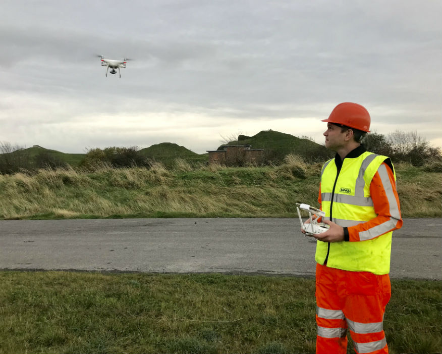 Mining engineer Peter Faraday flying the drone at Shotton mine. Picture: Banks