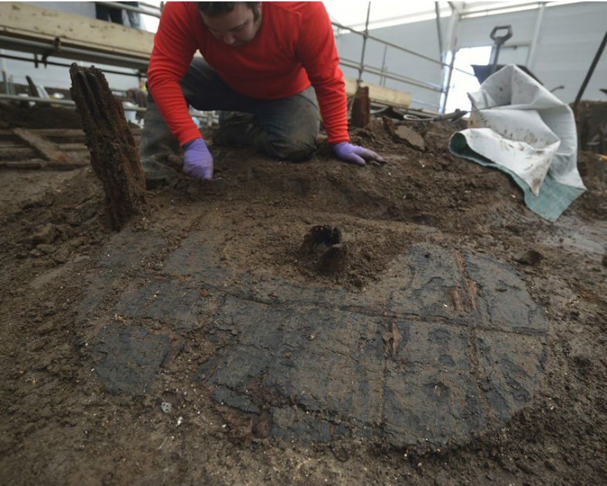 The Bronze Age wheel with clearly visible hub. Picture:Cambridge Archaeological Unit