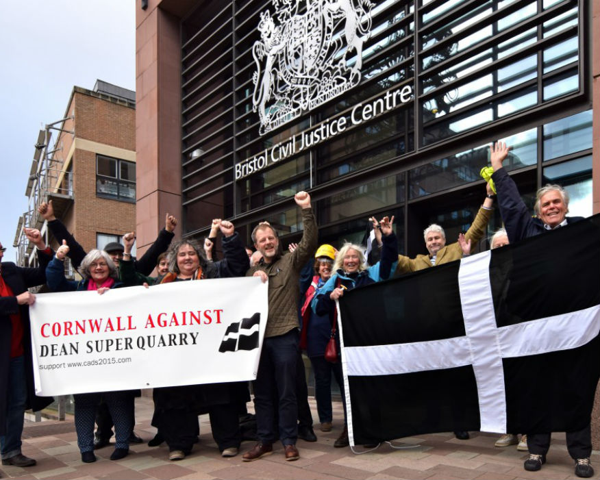Campaigners at Bristol High Court in November with Roskilly third from left. Picture CADS