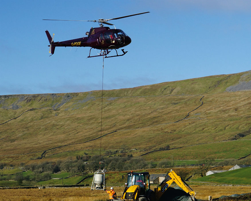 Donated stone air lifted by helicopter repaired paths in the national park. Picture: Hanson