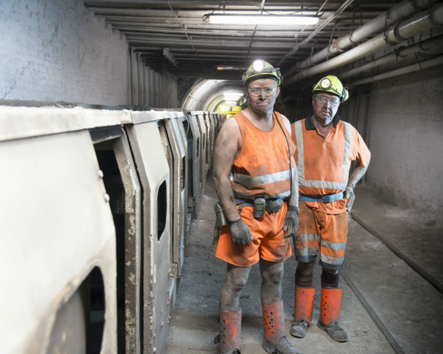 End of the line: Miners wait for for the underground train at Kellingley. Picture: UK Coal