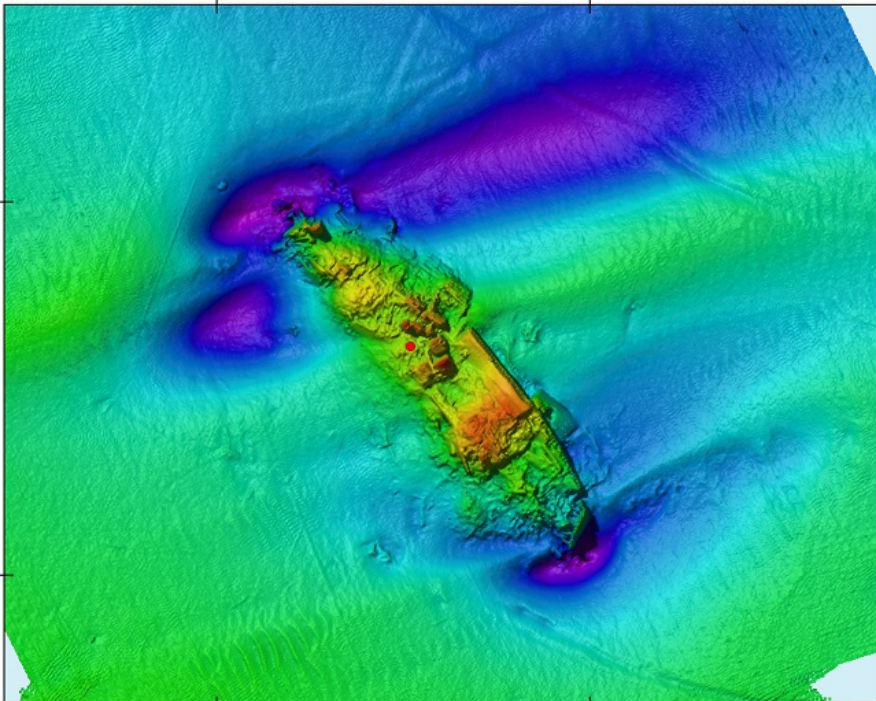 Wreck site of the SS Camberwell, which struck a mine in 1917. Picture: Brett