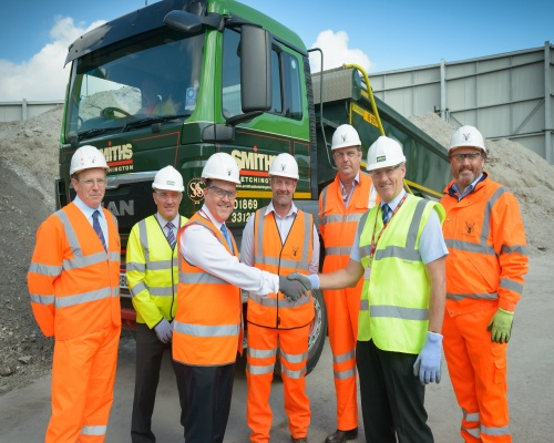Raymond Brown and Smiths & Sons (Bletchington) shake hands on the aggregate deal. Picture: Raymond Brown