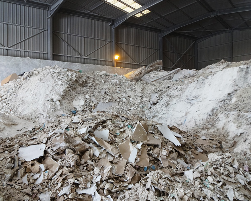 Gypsum can be recycled from demolition waste. Photograph: GtoG Project